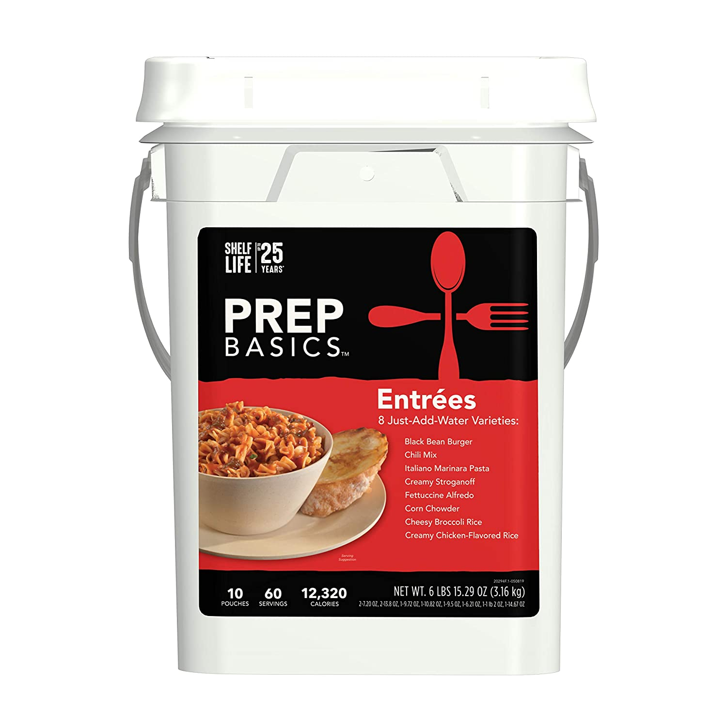 Prep Basics Entrée Variety | Emergency Food Supply | 12,280 Total Calories | 380 Total Grams Protein | Up to 25 Year Shelf Life | 10 Sealed Pouches