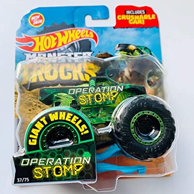 Hot Wheels Monster Trucks 1/64 Scale Operation Stomp with Crushable car 37/75: Toys & Games
