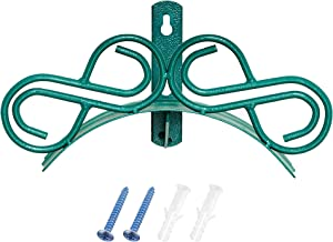 GARDSQUID Decorative Metal Hose Rack and Wall Mount Hardware – Rust-Resistant Coated Steel Holder for 100 ft. Standard Garden Hose with Two 38mm Screws for Outside Hanger Installation - Green