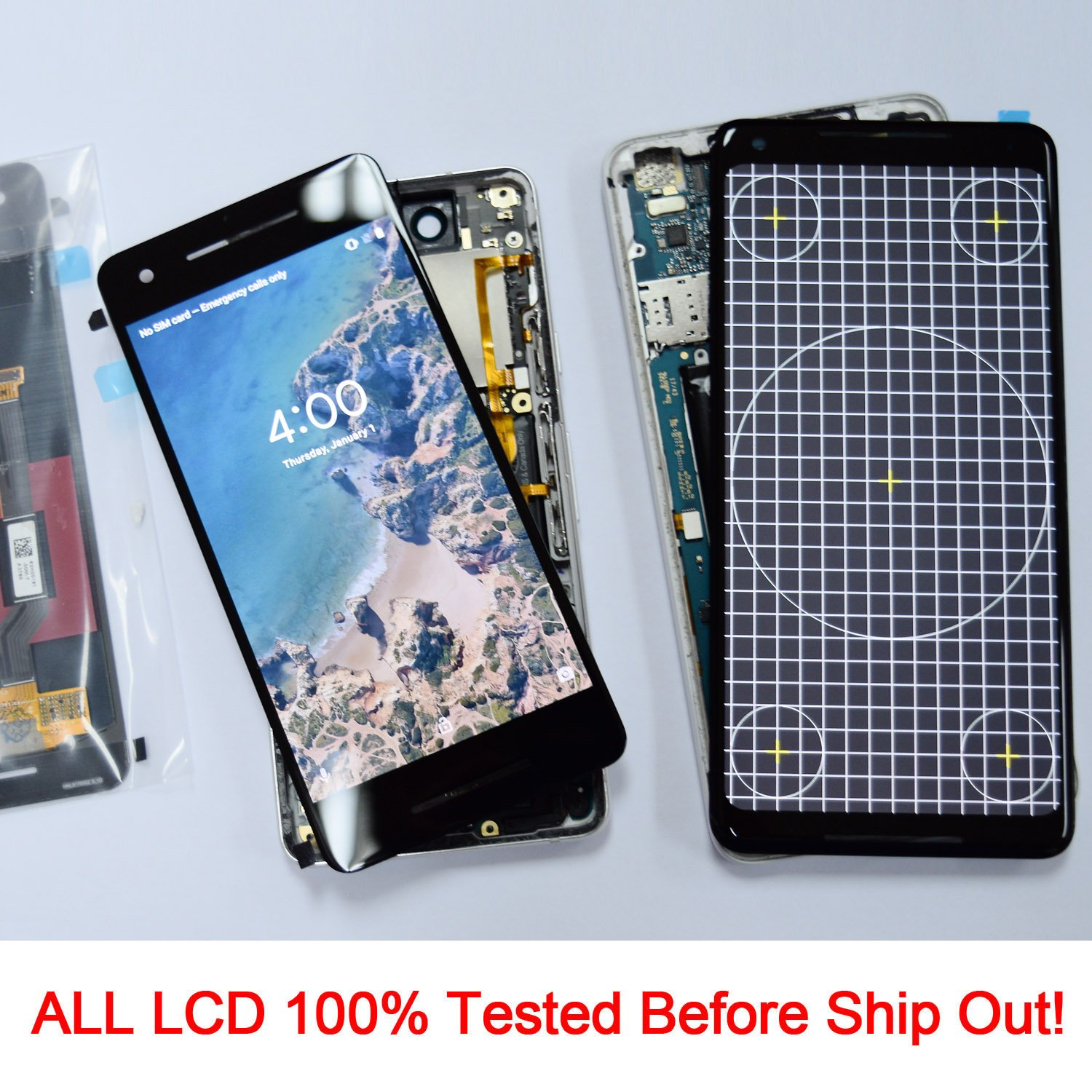 KR-NET AMOLED LCD Display Touch Screen Digitizer Assembly Replacement for  Google Pixel 2, with Adhesive and Tools