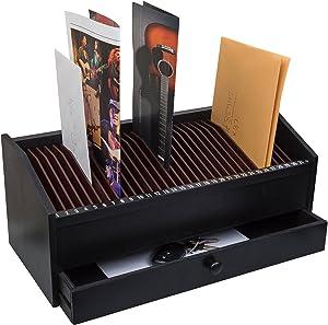 "JUMBL™ 17"" - 31 Slot Wooden Bill/Letter Organizer with Drawer - Black"