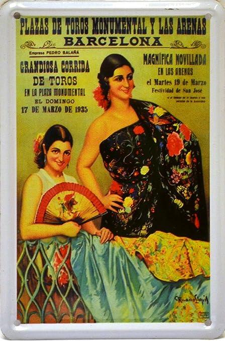 ART ESCUDELLERS Imán Cartel Poster publicitario de Chapa metálica con diseño Retro Vintage de Catalunya/España. Tin Sign. 11 cm x 7,3 cm (TOROS Barcelona 1935 Abanico): Amazon.es: Hogar