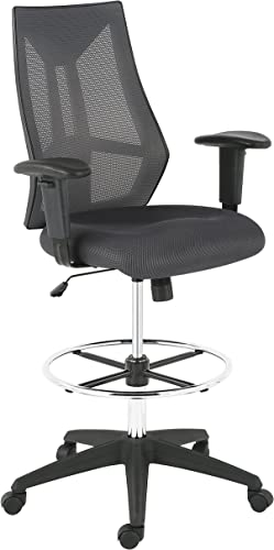 Poly and Bark Benicia Modern Ergonomic Drafting Fabric Office Chair in Mesh, Adjustable Height, Tilt Swivel, Grey