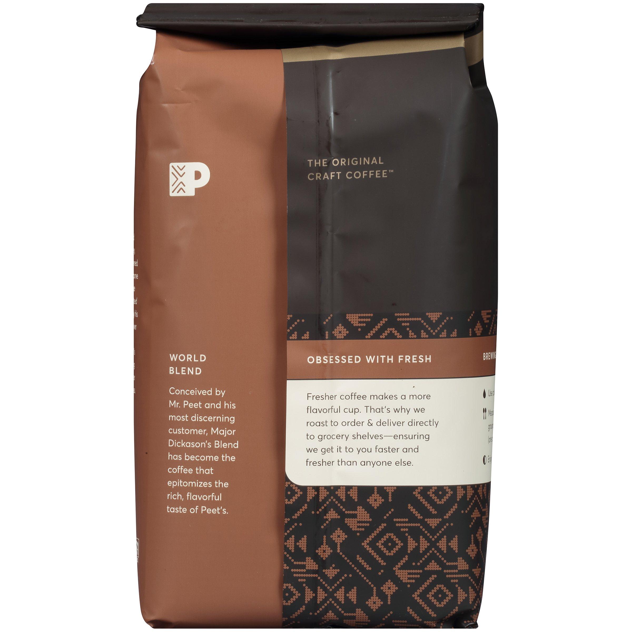 Peet's Coffee, Peetnik Pack, Major Dickason's Blend, Dark Roast, Ground Coffee, 20 oz. Bag, Rich, Smooth, and Complex Dark Roast Coffee Blend With A Full Bodied and Layered Flavor by Peet's Coffee (Image #2)