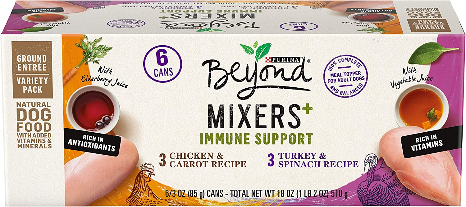 Purina Beyond Natural Wet Dog Food Complement Variety Pack, Mixers+ Immune Support Chicken & Turkey Recipes - (3 Packs of 6) 3 oz. Cans