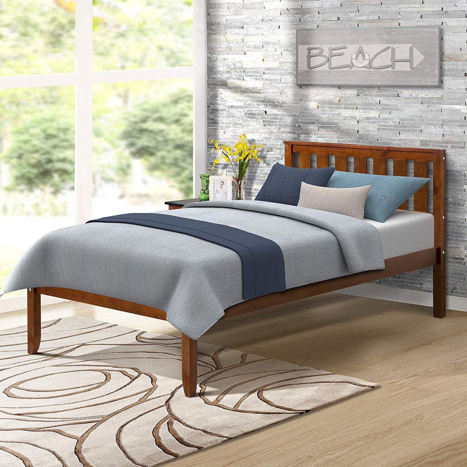 Deluxe Platform Bed with Headboard Wood Slat Support No Box Spring Nedded Twin, Walnut