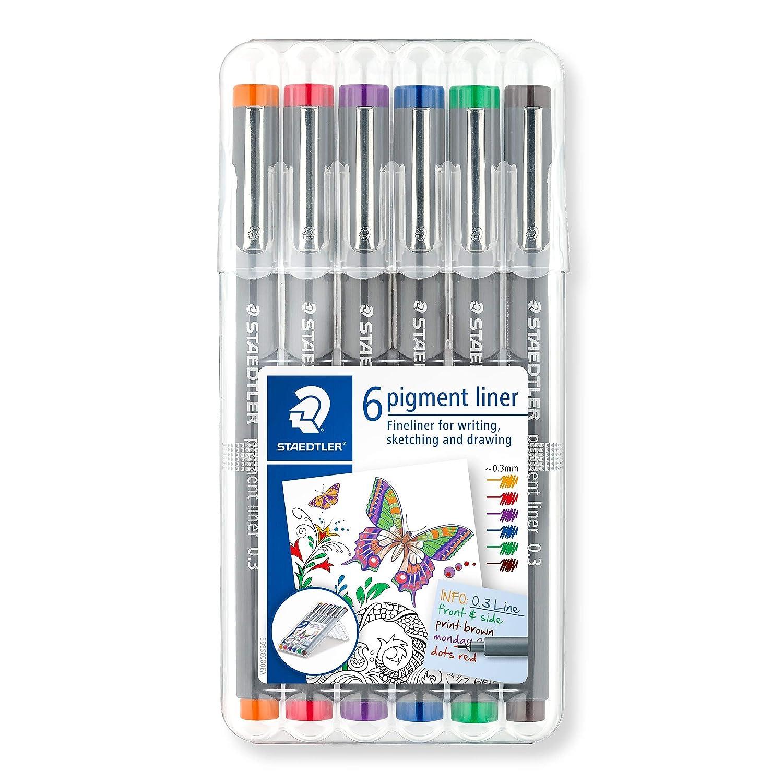 0,5mm farbig sortiert Fineliner NEU! Staedtler Pigment Liner 6er Pack 0,3