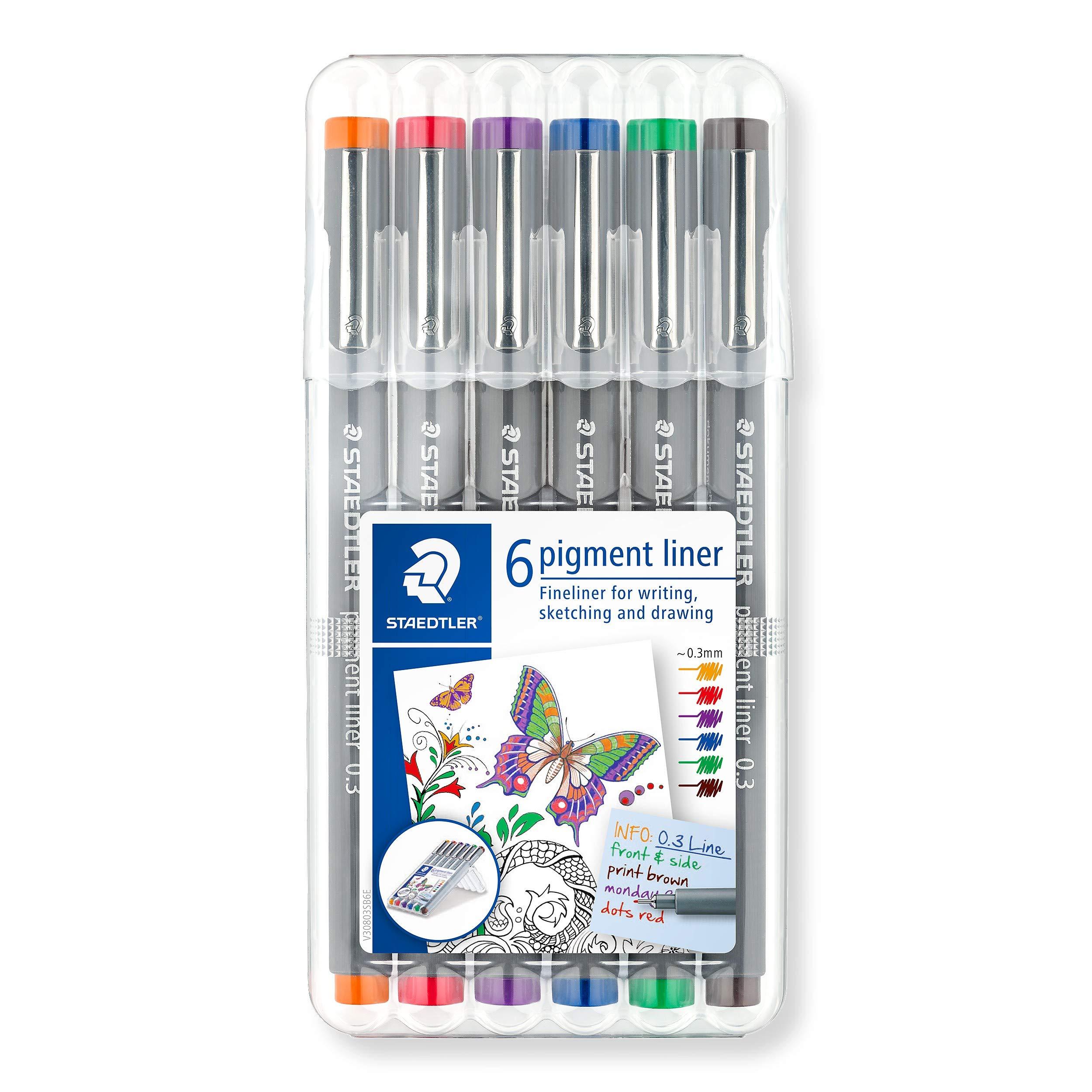 Staedtler Color Pigment Liner Sketch Set of 6 03-SSB6 0.3mm by STAEDTLER