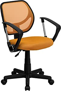 Flash Furniture Low Back Orange Mesh Swivel Task Office Chair with Arms, BIFMA Certified