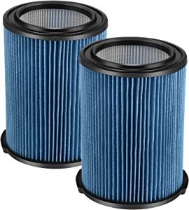Cabiclean (2 Pack) 3-Layer Pleated Replacement Filter Compatible with Ridgid VF5000 Wet/Dry 5-20 gallon vacuums