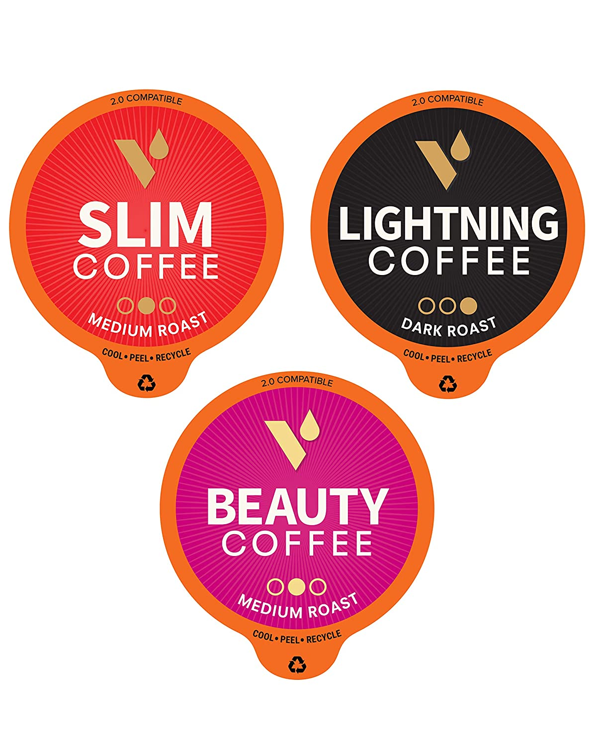 VitaCup Coffee Variety Pod Sampler Pack 48ct. (Beauty, Lightning, Slim) Vitamin infused Recyclable Single Serve Pods Compatible with K-Cup Brewers Including Keurig 2.0