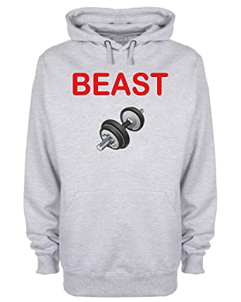 2c9b8b9f8 Beast Dumbbells Hoodie Sports Gym Crossfit Slogan Hooded Sweatshirt:  Amazon.co.uk: Clothing