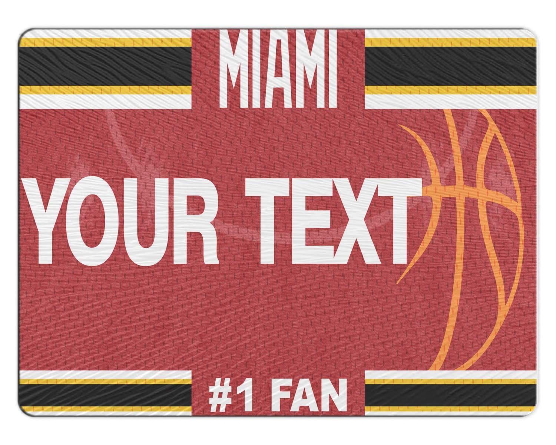 BRGiftShop Personalized Custom Basketball Team Miami 11x15 Glass Cutting Board