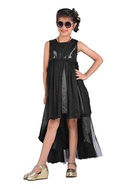 804b0a11558 KidsDew Black Girls Party Wear Gown for Kids Long Frock Maxi Dress   Amazon.in  Clothing   Accessories