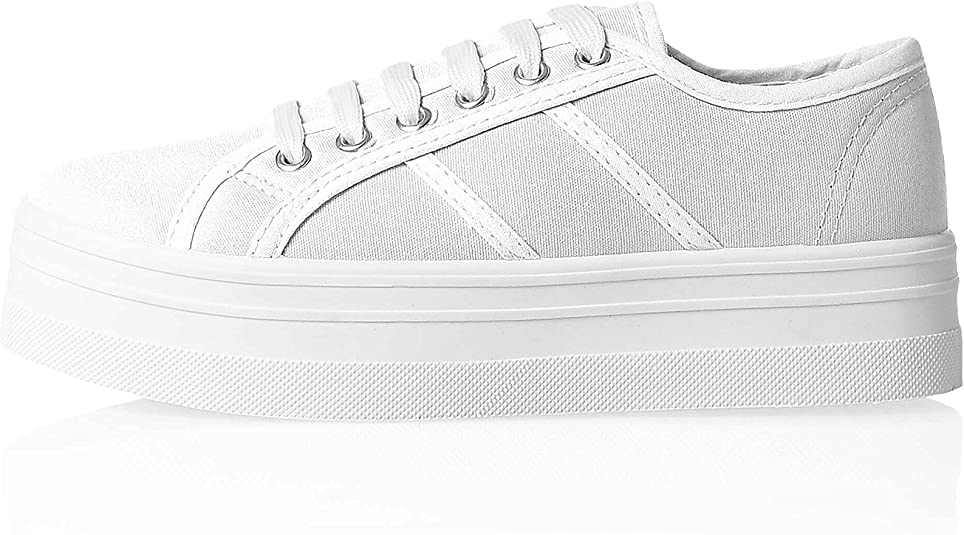 Hailys Sneaker Low, Gr. 36 41, Weiß, Plateau, Canvas, White,