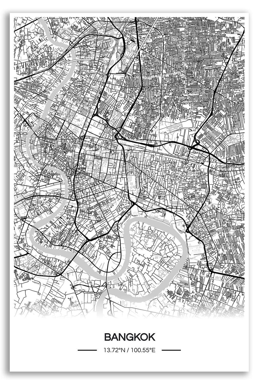 Zulumaps Poster 20x30cm Mappa della Città Bangkok - Stampa Artistica di Alta qualità