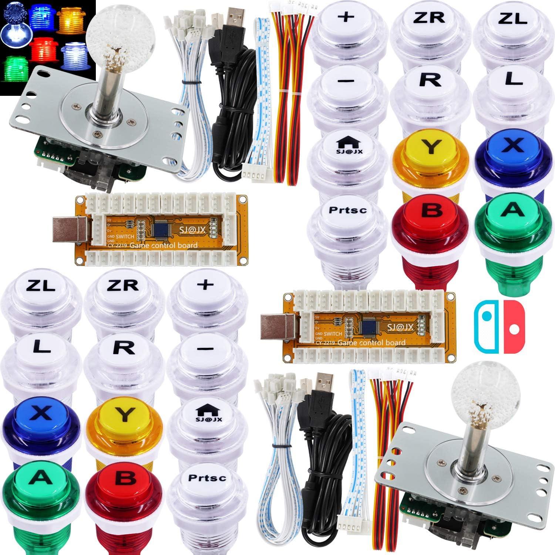 SJ@JX Arcade Game LED Controller Lamp USB Encoder 2 Player GamepadCherryMXMicroswitch Light Button 8way LED Joystick for Nintendo Switch PC PS3 Retropie Raspberry Pi MAME