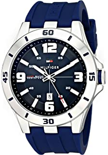 Tommy Hilfiger Mens 1791062 Stainless Steel Watch with Blue Silicone Band
