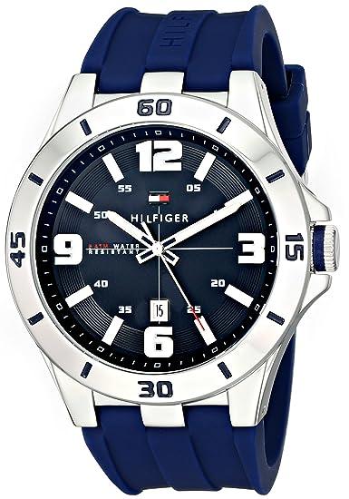 c0c1ee55d881 Tommy Hilfiger 1791062 Reloj de hombre en acero inoxidable con correa de  silicona azul