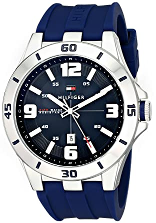 d06b4860 Amazon.com: Tommy Hilfiger Men's 1791062 Stainless Steel Watch with Blue  Silicone Band: Tommy Hilfiger: Watches