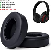 Wicked Cushions Upgraded Beats Ear Pads - Compatible with Studio Wired B0500 / Wireless B0501 / Studio 2 and Studio 3 Over Ear Headphones ONLY (Does NOT FIT Beats Solo) | Black
