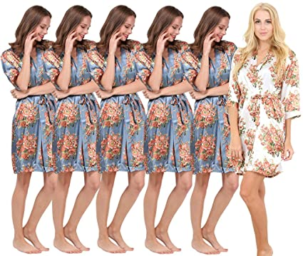 Mr & Mrs Right Set of 6 Women\'s Satin Short Floral Wedding Robes ...