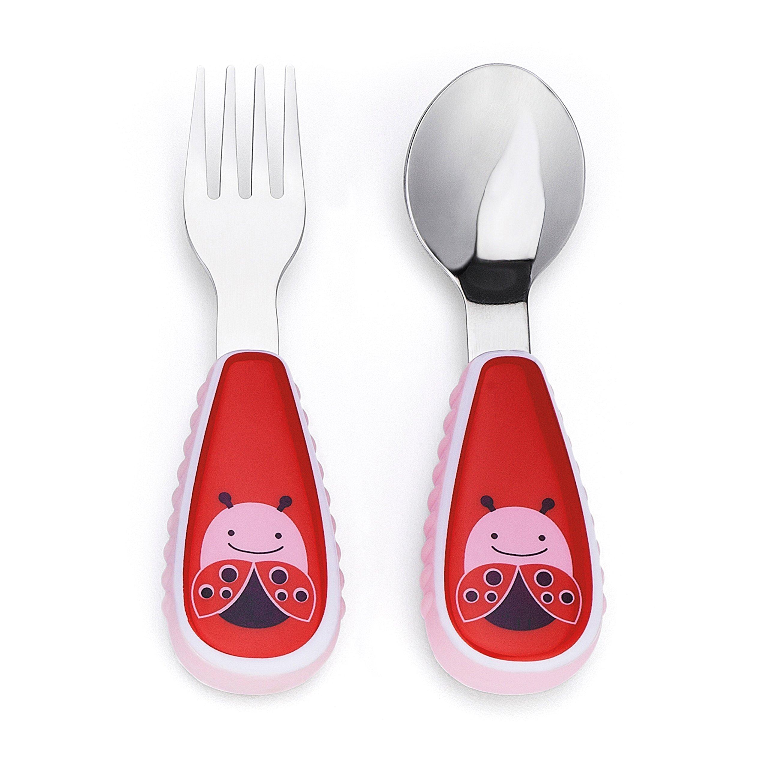 Skip Hop Toddler Utensils, Fork and Spoon Set,Ladybug