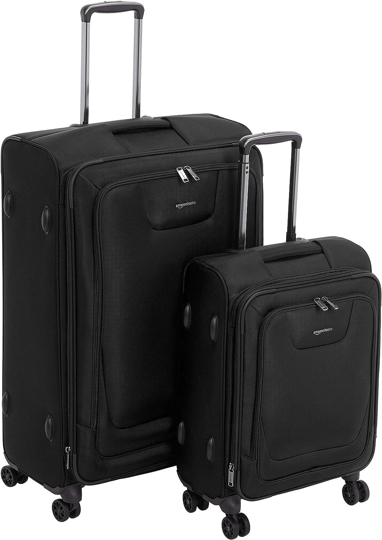 AmazonBasics - Set de dos maletas con ruedas, de calidad superior, expandible, con lados blandos y cierre con candado TSA, (53 cm, 74cm), Negro