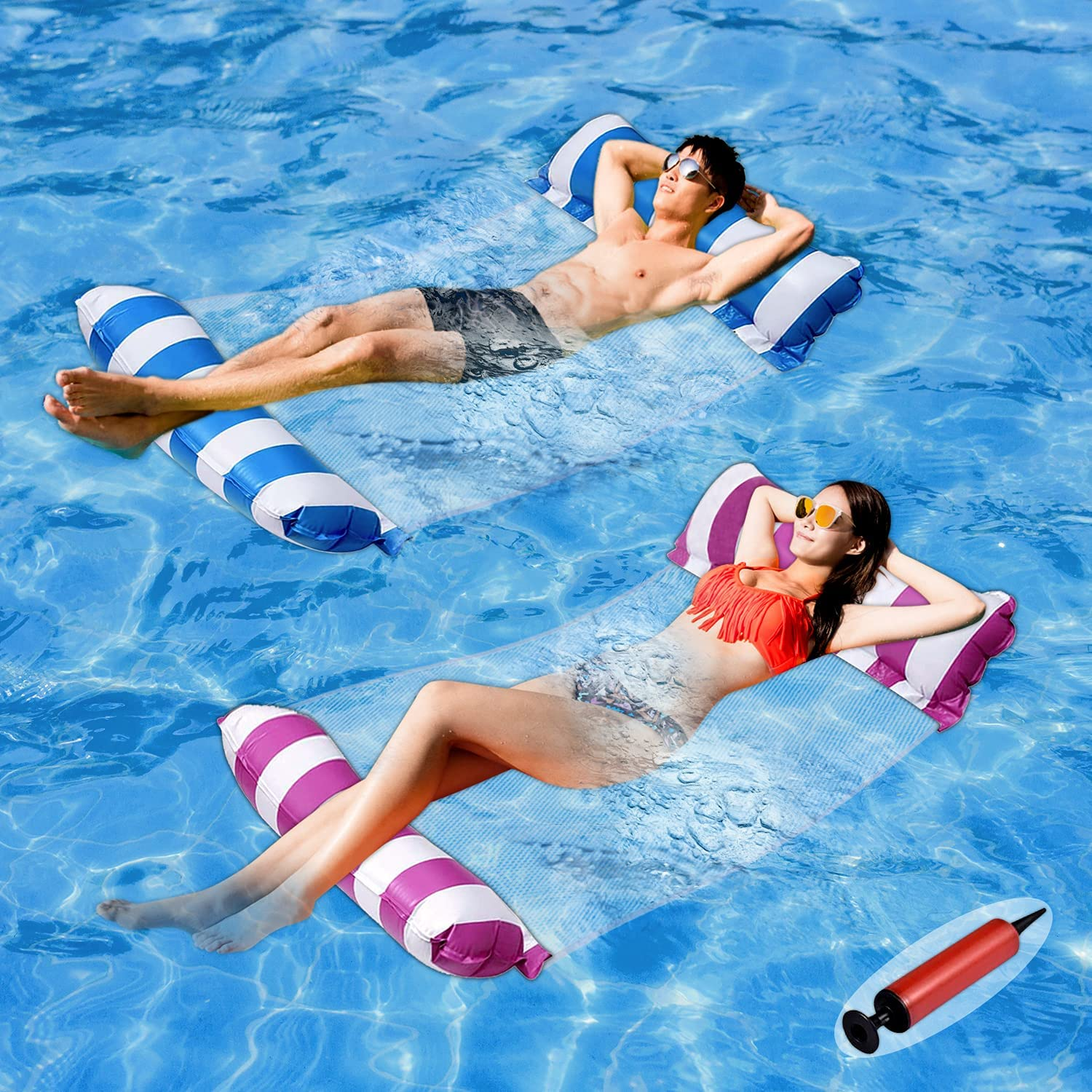 Floating Water Bed Beach Mattress Summer Pool Toys Swimming Pool Float Hammock Water Lounge swiftrans Inflatable Pool Floats with Canopy for Adults Pool Float Pool Raft with Shade Water Hammock