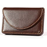 KINGFOM™ PU Leather Business Name Card Case Wallet Holder with Magnetic Shut (Brown)