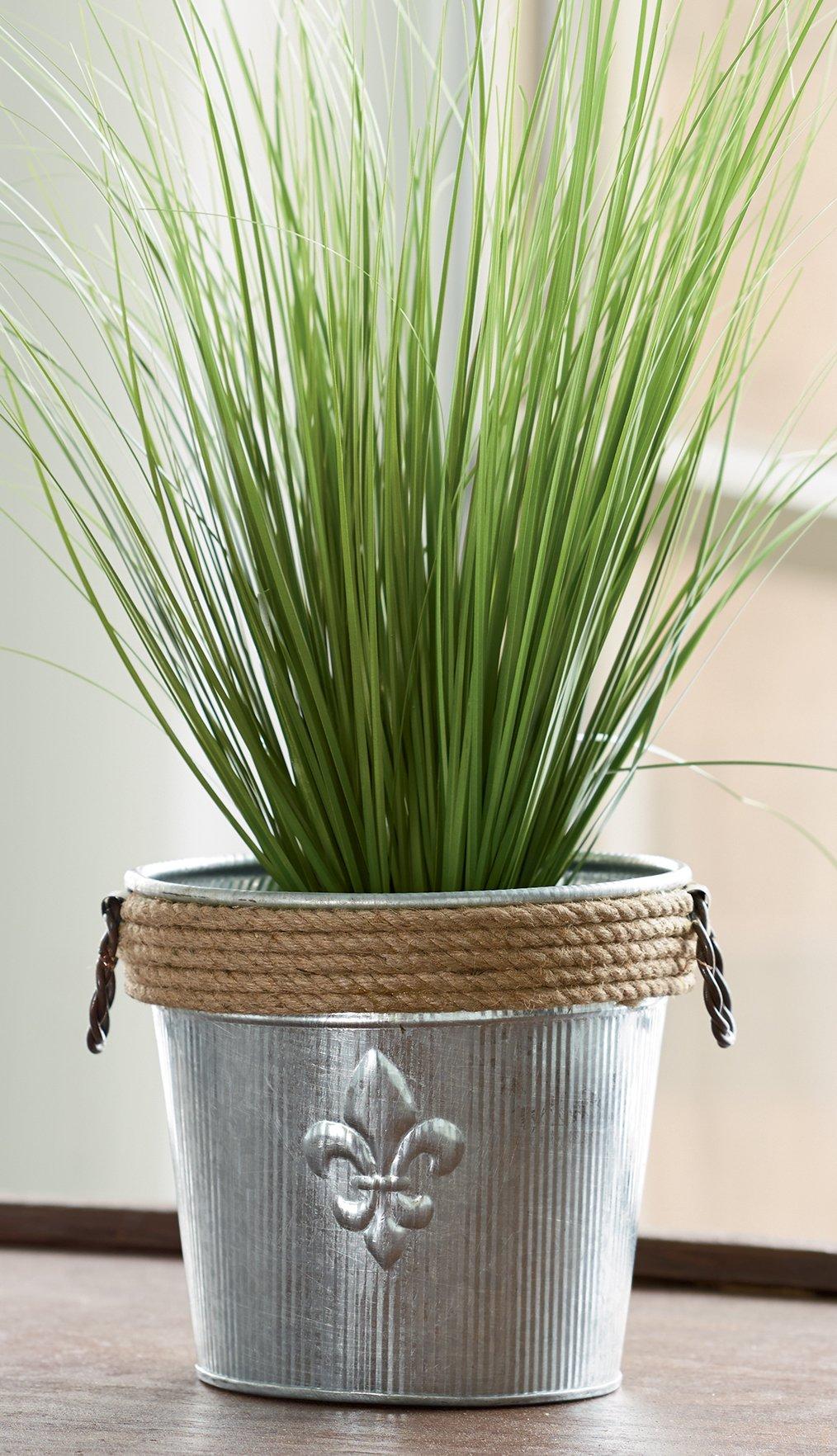 KINDWER Jute Rope Wrapped Galvanized Fleur De Lis Bucket