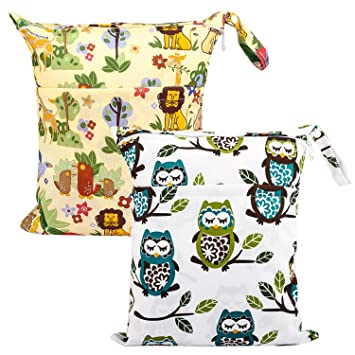 Large Cloth Mama Wet Bag for Nappies Wipes Cloth Sanitary Pads Forest Design