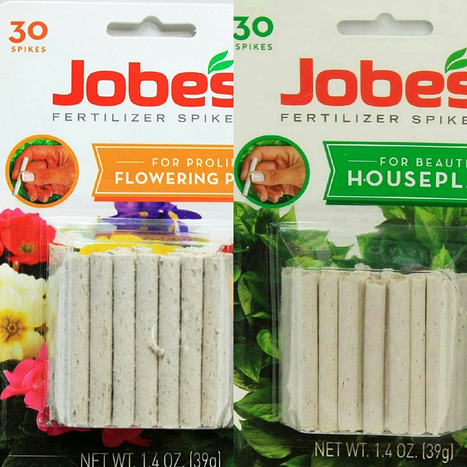 Jobes Fertilizer Spikes Combo Pack For House Plants (13-4-5) and Flowering Plants (10-4-4)