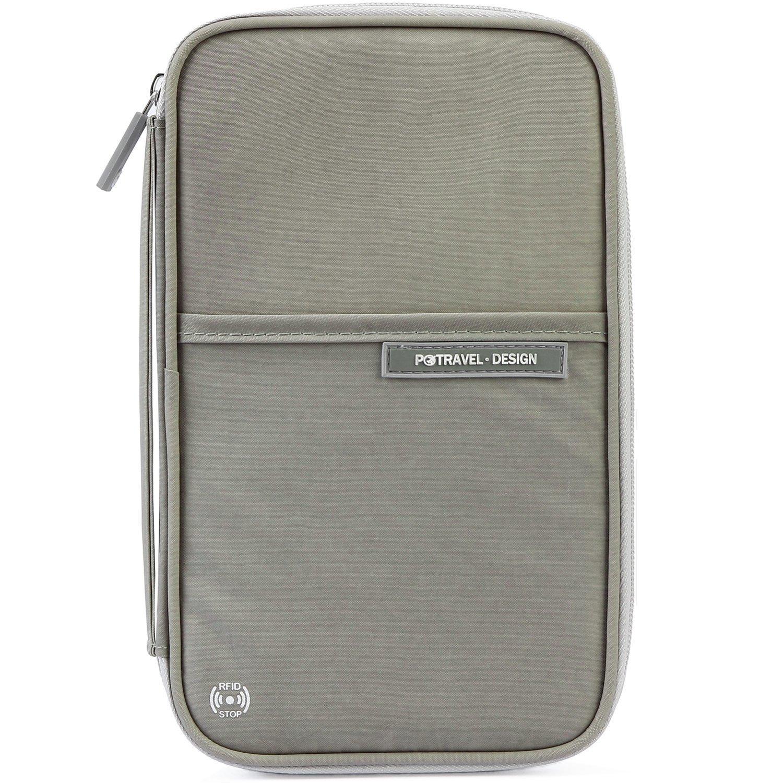 VanFn Passport Wallets, Travel Wallet, RFID Family Passport Holder, Trip Document Organizer (Grey)