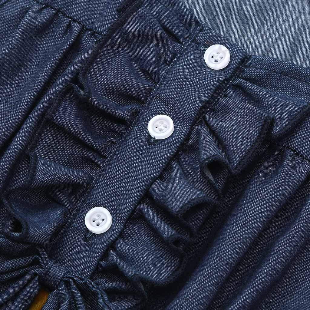 B/éb/é Filles Robe sans Manches,Mounter V/êtements B/éb/é Filles D/ét/é Robes sans Manches Robe Imprim/ée P/êche Citron Robes en Denim Splice
