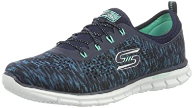 Skechers Womens Glider Deep Space Athletic Sneaker, Navy/Green, 5 B(M