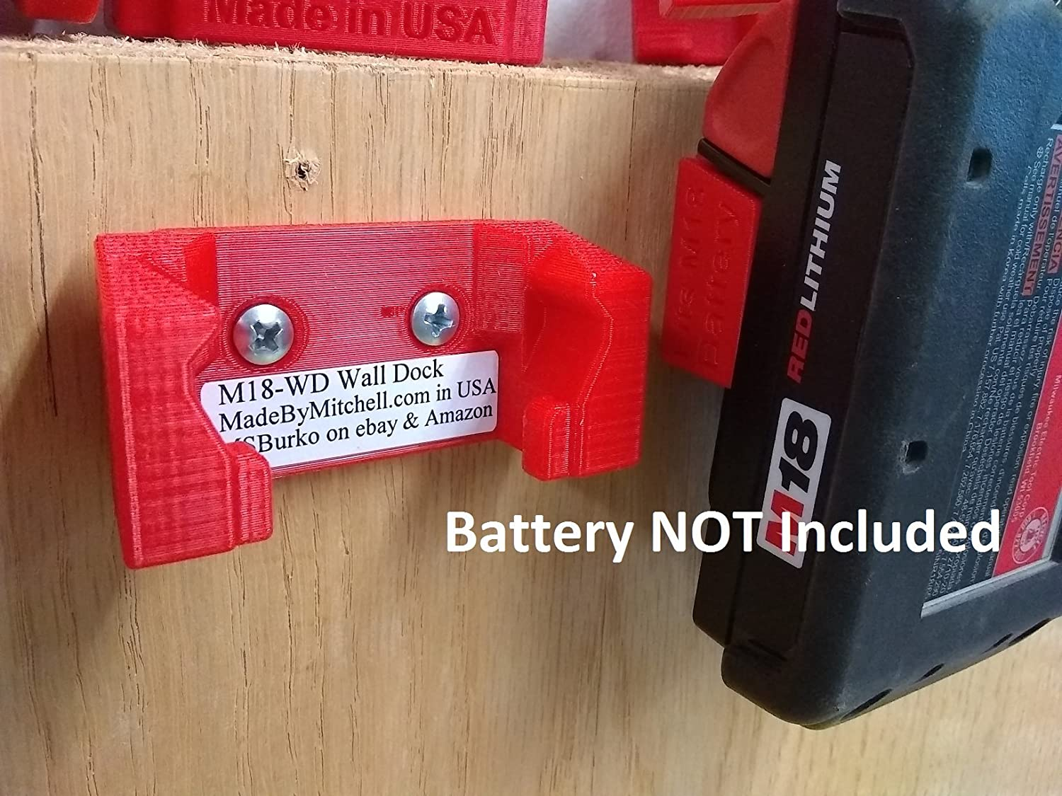 Amazon.com: Wall Dock/ Mount for Milwaukee M18 Battery, PN ...