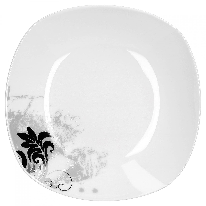 Van well black flower service de table 12 pi/èces en porcelaine /à bords carr/és blanc /à fleurs noires pour 6 personnes