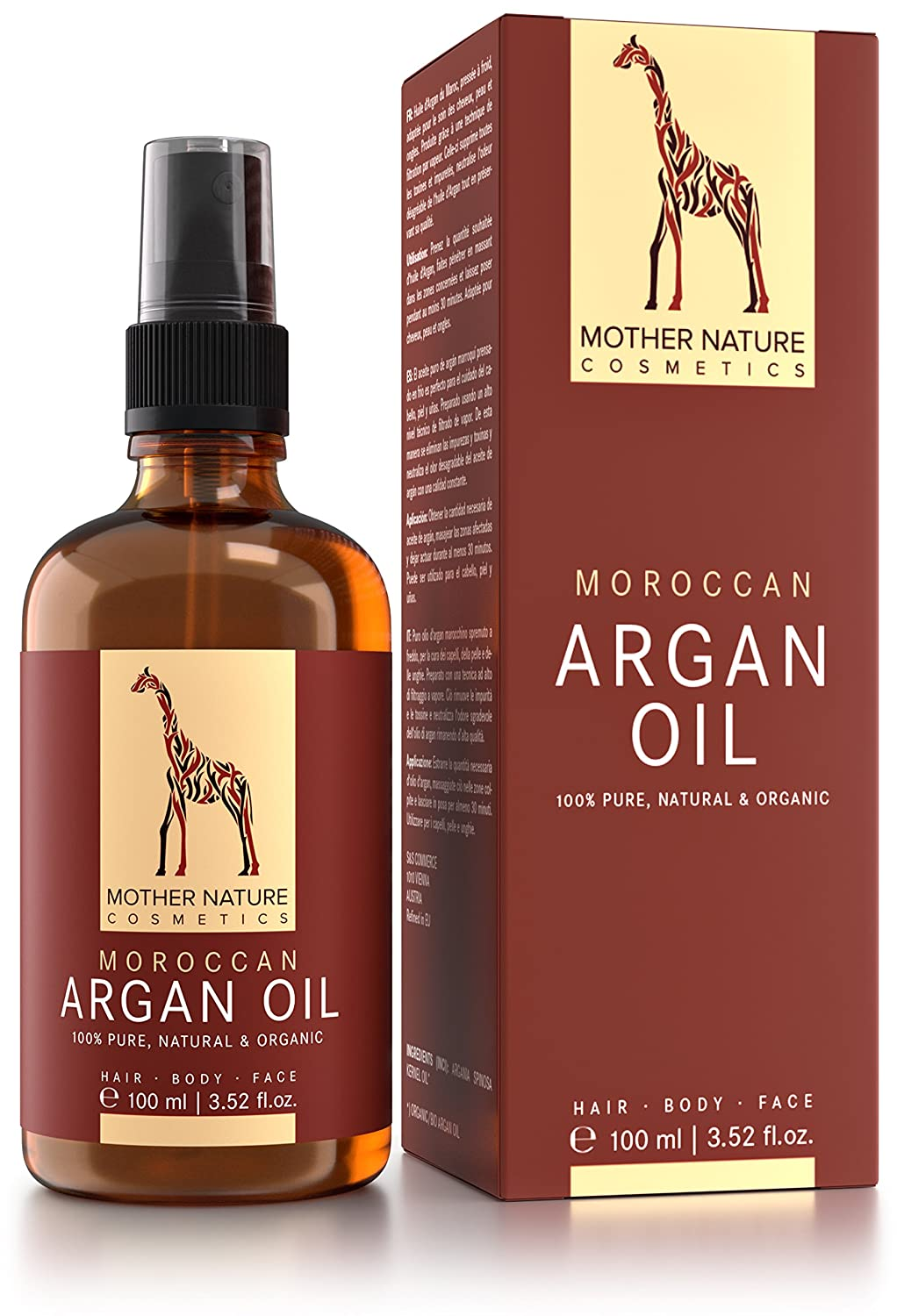 Mother Nature ♥♥ Argan Oil ♥♥ Cold Pressed from Morocco - 100% Organic ★ Made in UK ★ 100ml - For Hair- and Skincare S&S GesbR