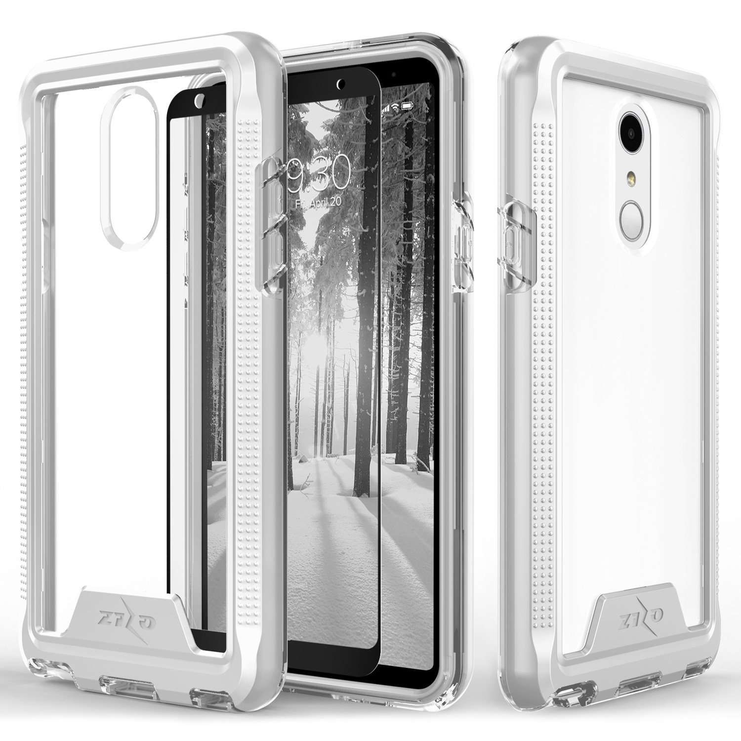 Zizo ION Series Compatible with LG Stylo 4 Case Military Grade Drop Tested with Tempered Glass Screen Protector Silver Clear 4344271329