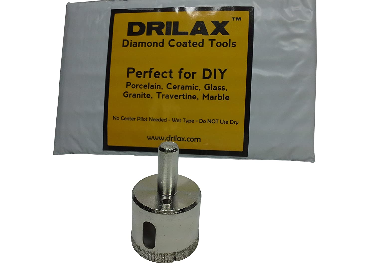 "Drilax 1 1/2 Inch Diamond Hole Saw Drill Bit Tiles, Glass, Fish Tanks, Marble, Granite Countertop, Ceramic, Porcelain, Coated Core Bits Holesaw DIY Kitchen, Bathroom, Shower, Faucet Installation Size 1-1/2"" Inches"