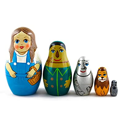 Matryoshka Babushka Russian Nesting Wooden Doll Wonderful Wizard of Oz Babouska Matrioska Stacking 5 Pcs: Toys & Games