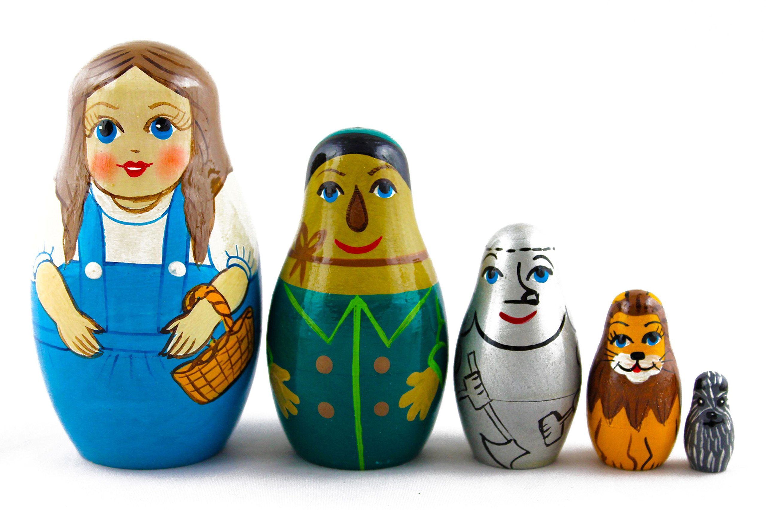 Matryoshka Babushka Russian Nesting Wooden Doll Wonderful Wizard of Oz Babouska Matrioska Stacking 5 Pcs
