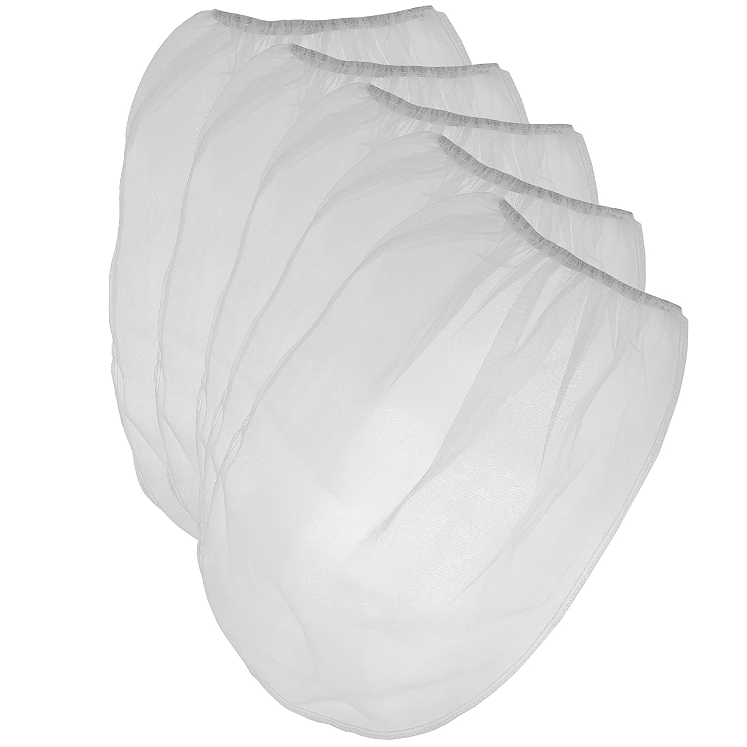 Pack of 25 Paint Strainer White Fine Mesh Disposable Bag Filters with Elastic Top Opening - 5 Gallon Bucket Size for Use with Paint Guns and Sprayers - by California Containers