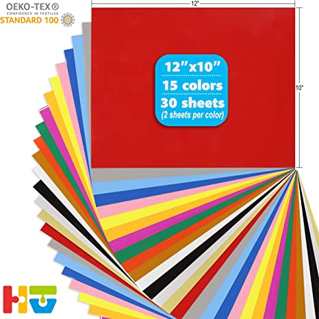 Red Assorted IRON-ON Heat Transfer Vinyl Paper Sheets for Cutting Machines