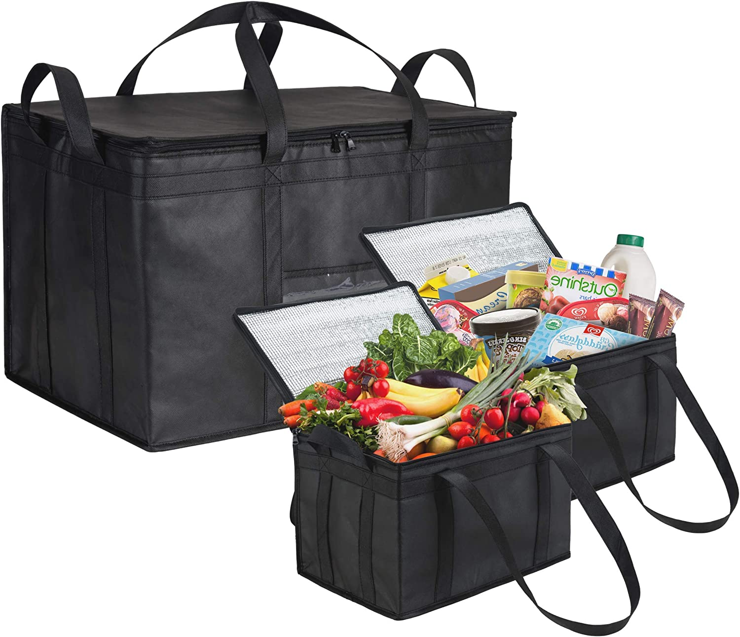 NZ Home Ultimate Food Delivery Bags Bundle Large Insulated Bags 2 Pack + XXXL Insulated Bags 1 Pack