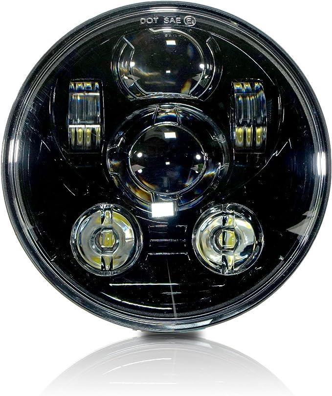 "1 PAIR 5 3//4/"" ROUND H5006//5001 H4 CONVERSION HEADLIGHT+H4 LED WHITE BULBS HLR5LF"