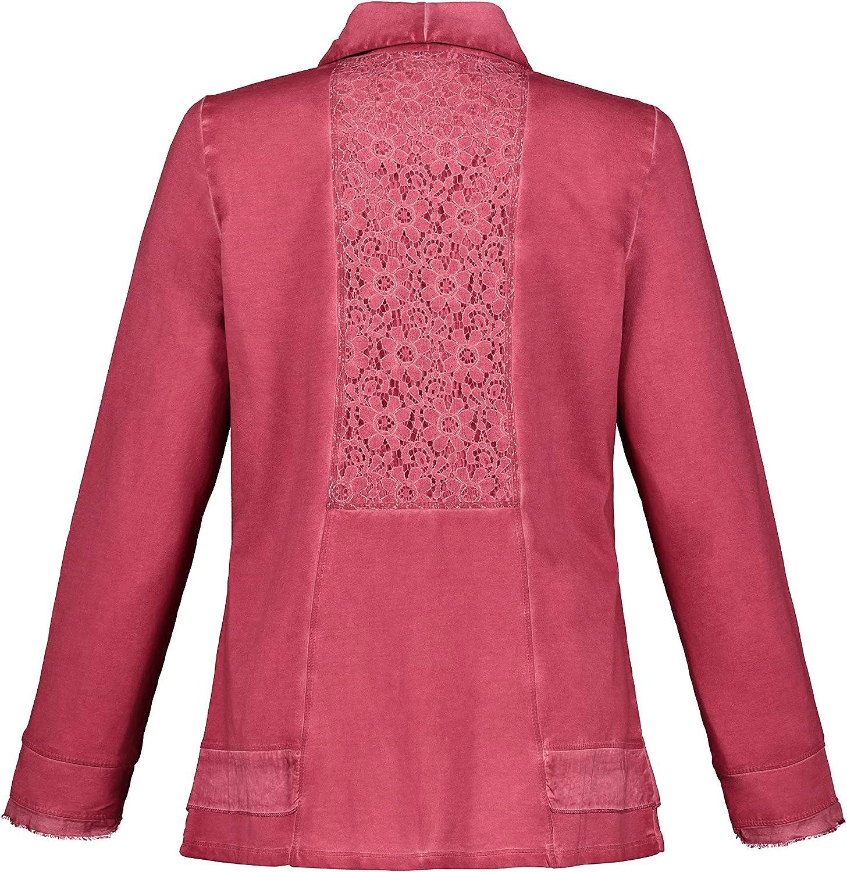 Ulla Popken Damen gro/ße Gr/ö/ßen bis 64 Saum und Lange /Ärmel mit Web Sweatjacke Blickdicht unterlegte Spitze Schalkragen und Zipper cool Dyed 720731