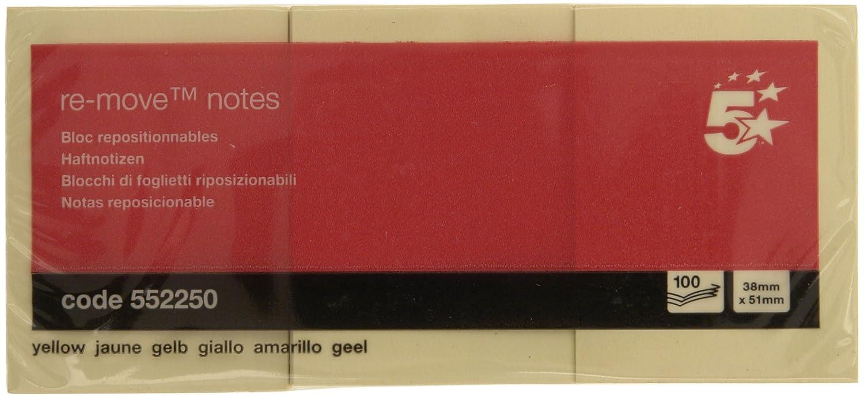 Note Adesive 5 Star 38x51 mm giallo 552250 (confezione 12)