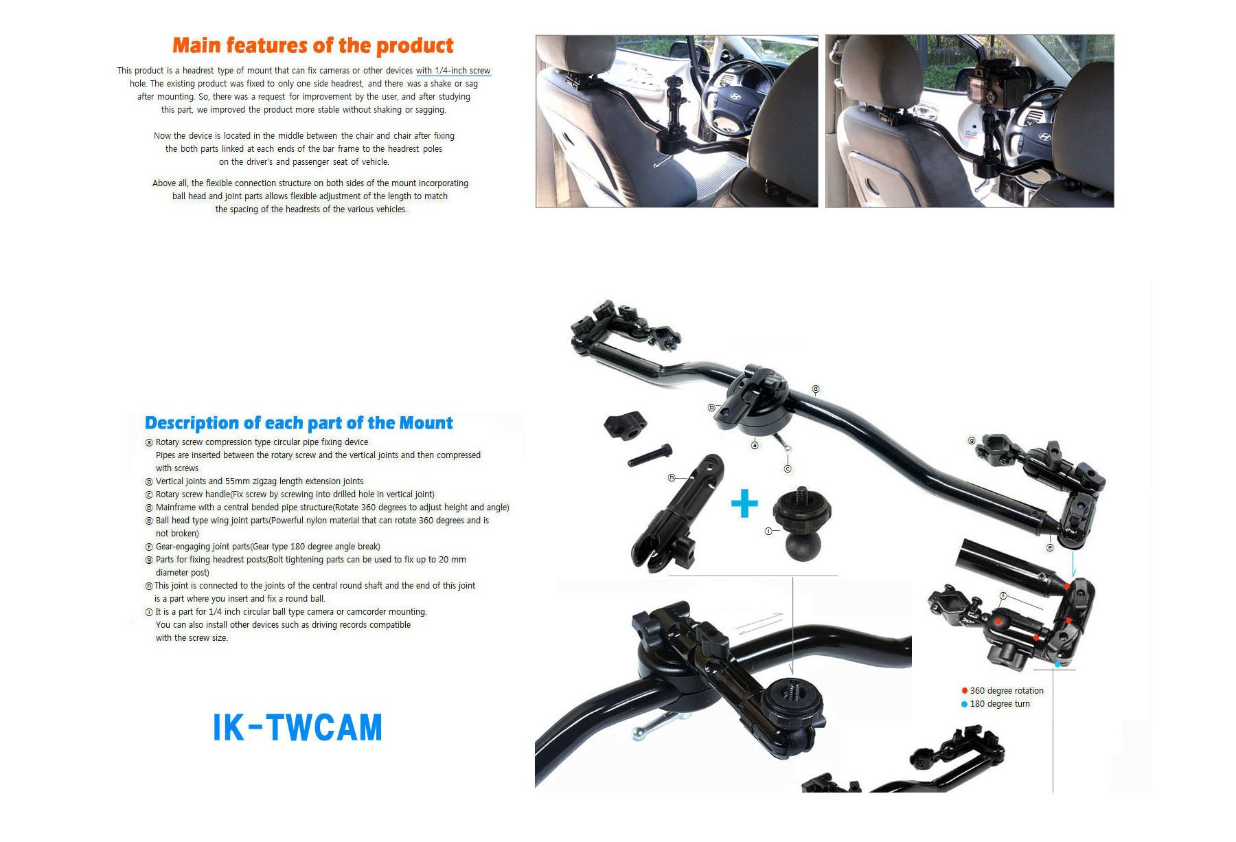 a bar type headrest mount fix on both headrests for mounting camcorder action cam camera mount with all metal sturdy pipe added both side flexible part and 1/4 inches thread as a cam connecting part by Top Mount